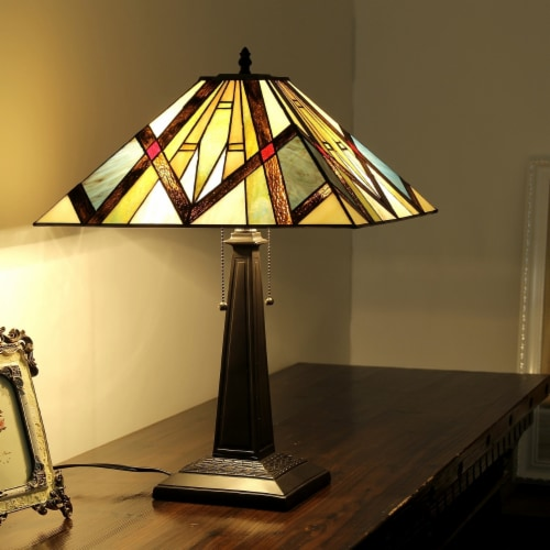 BEDIVERE Tiffany-style 2 Light Mission Table Lamp 16  Shade Perspective: back