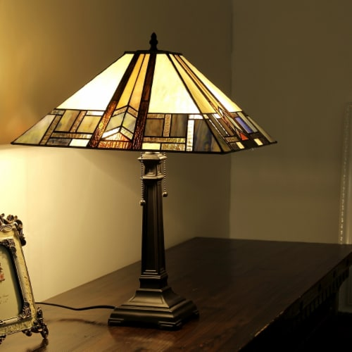 GAHERIS Tiffany-style 2 Light Mission Table Lamp 16  Shade Perspective: back