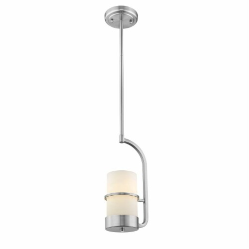 PENELOPE Contemporary 1 Light Brushed Nickel Ceiling Mini Pendant 7  Wide Perspective: back
