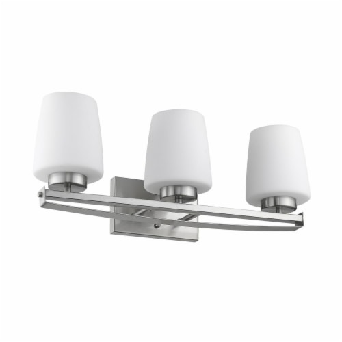 OLIVIA Contemporary 3 Light Brushed Nickel Etched White Glass 23  Wide Perspective: back