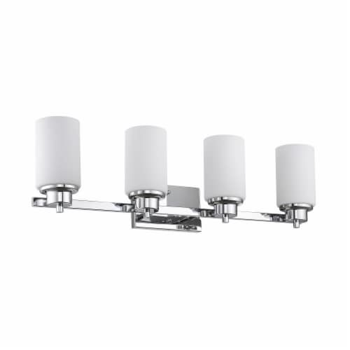 SCARLETT Contemporary 4 Light Chrome Finish Etched White Glass 29  Wide Perspective: back