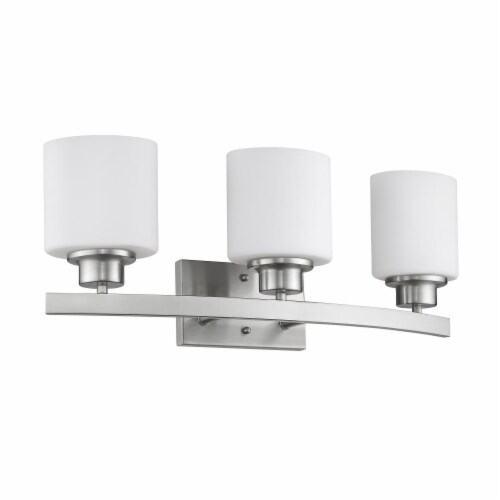 AALIYAH Contemporary 3 Light Brushed Nickel Opal White Glass 23  Wide Perspective: back