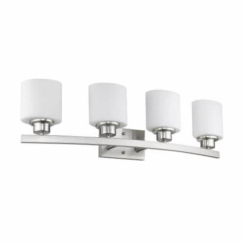 AALIYAH Contemporary 4 Light Brushed Nickel Opal White Glass 32  Wide Perspective: back