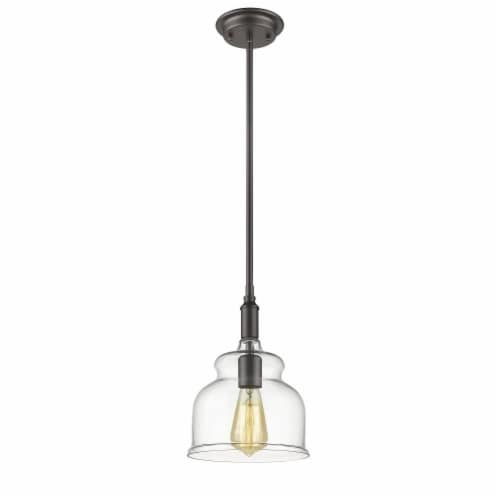 CHLOE Lighting ZOE Transitional 1 Light Rubbed Bronze Ceiling Mini Pendant 8  Wide Perspective: back