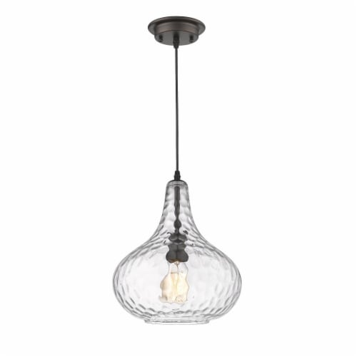 HAILEY Transitional 1 Light Rubbed Bronze Ceiling Mini Pendant 11  Wide Perspective: back