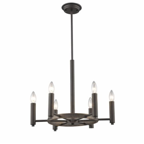 IRONCLAD Industrial-style 6 Light Rubbed Bronze Ceiling Pendant 20  Wide Perspective: back
