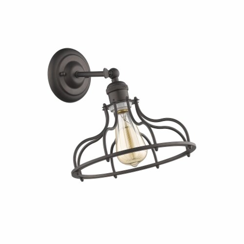JAXON Industrial-style 1 Light Rubbed Bronze Indoor Wall Sconce 10  Wide Perspective: back
