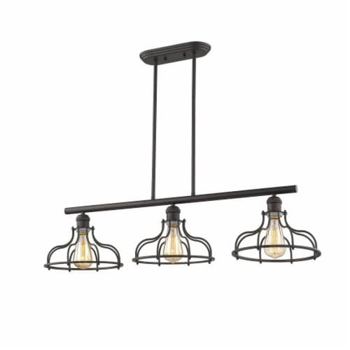 JAXON Industrial-style 3 Light Rubbed Bronze Island Hanging Fixture 37  Wide Perspective: back