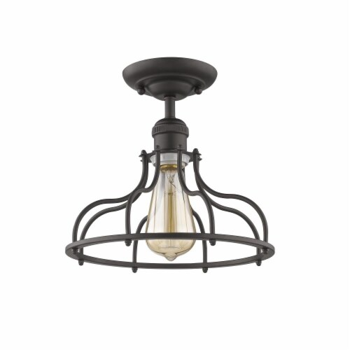 JAXON Industrial-style 1 Light Rubbed Bronze Semi-flush Ceiling Fixture 10  Wide Perspective: back