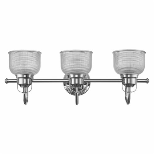 LUCIE Industrial-style 3 Light Chrome Finish Clear Prismatic Glass 25  Wide Perspective: back