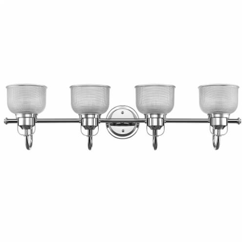LUCIE Industrial-style 4 Light Chrome Finish Clear Prismatic Glass 34  Wide Perspective: back