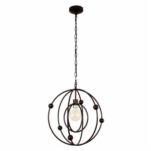 Lighting IRONCLAD Farmhouse 1 Light Oil Rubbed Bronze Ceiling Pendant 18  Wide Perspective: back