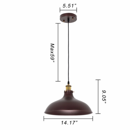 Lighting CYNERIC Industrial 1 Light Oil Rubbed Bronze Ceiling Pendant 14  Wide Perspective: back