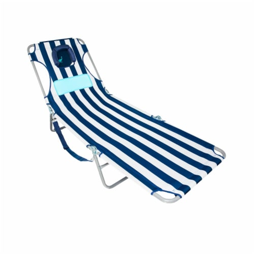 Ostrich Comfort Lounger Face Down Sunbathing Chaise Lounge Beach Chair, Stripes Perspective: back