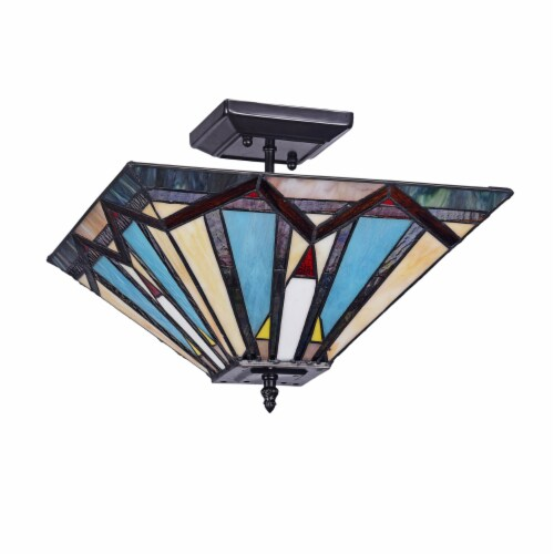 Lighting MANTON Mission 2 Light Blackish Bronze Semi-flush Ceiling Fixture 14  Wide Perspective: back