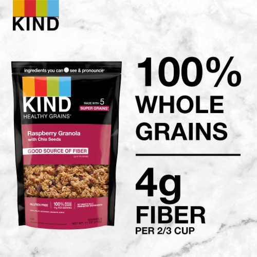 KIND Healthy Grains® Raspberry Granola Clusters with Chia Seeds Perspective: back