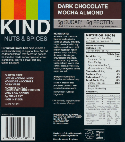 KIND Nuts & Spices Dark Chocolate Mocha Almond Bars Perspective: back