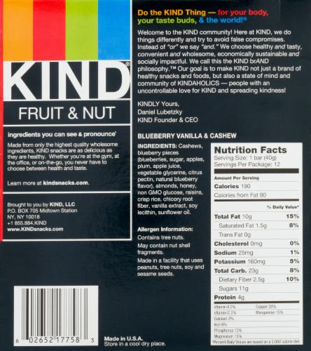 KIND Blueberry Vanilla & Cashew Fruit & Nut Bars Perspective: back
