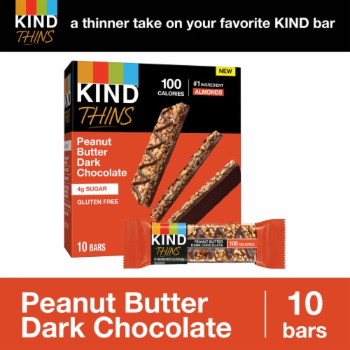 KIND Thins Peanut Butter Dark Chocolate Bars Perspective: back