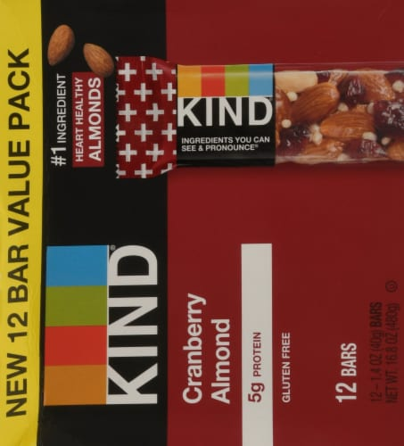 KIND Cranberry Almond Bars Perspective: back