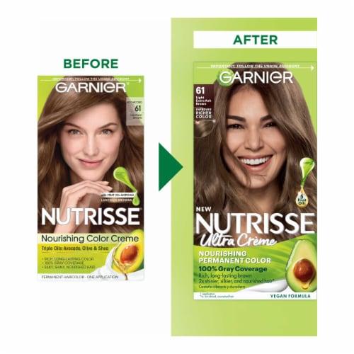 Garnier® Nutrisse® Nourishing Mochaccino 61 Light Ash Brown Hair Color Perspective: back