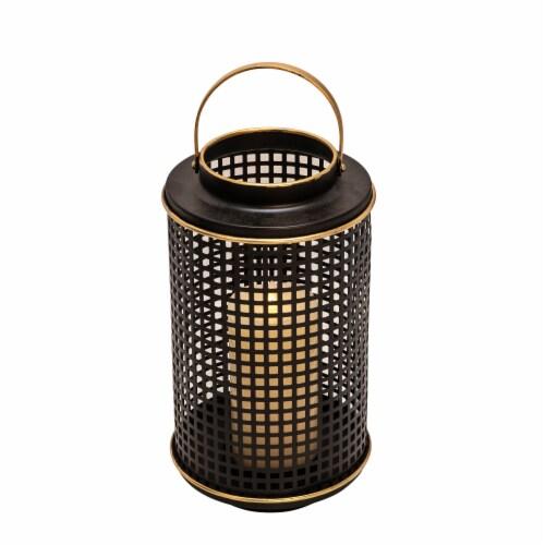 Metal 12  Grid Candle Holder, Black Perspective: back
