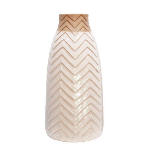 18  Chevron Vase, Ivory Perspective: back
