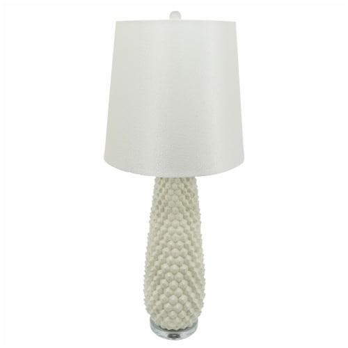 Ceramic 37.75  Beaded Table Lamp, Off White Perspective: back