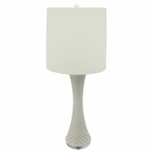 Ceramic 38  Cross Stich Table Lamp, 2 Tone White Perspective: back