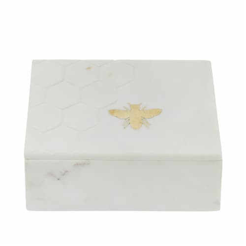 Marble 7X5 Marble Box W/ Bee Accent White Perspective: back