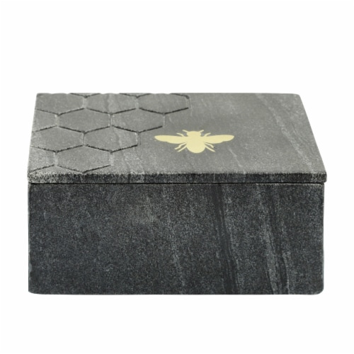 Marble 7X5 Marble Box W/ Bee Accent, Black Perspective: back