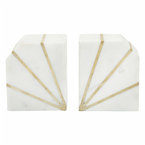 S/2 Marble 5 H Polished Bookends W/Gold Inlays,Wht Perspective: back