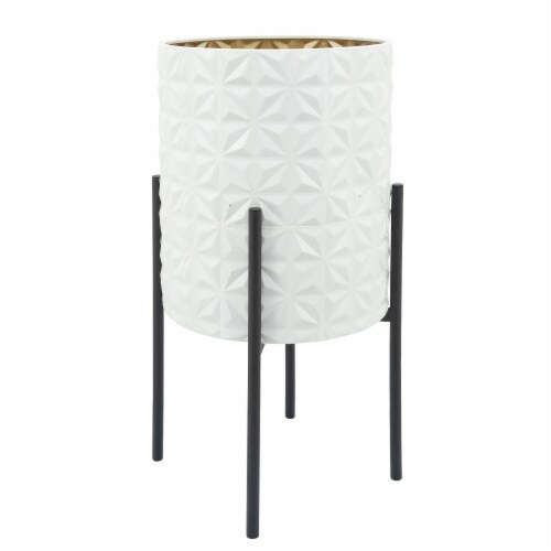 S/2 Aztec Planter On Metal Stand, Wht/Gld/Blk Perspective: back