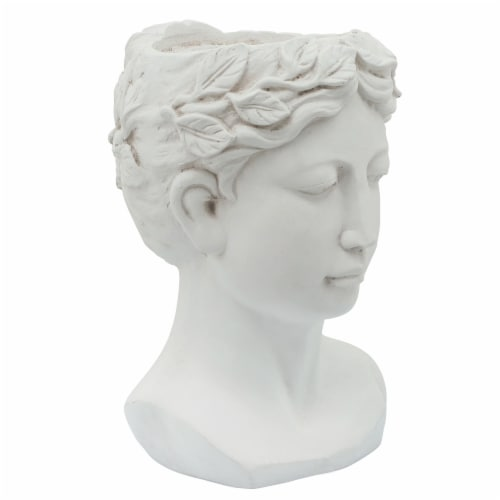 Resin, 9  Lady Head Planter, White Perspective: back