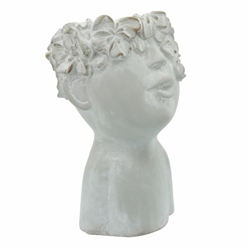 Resin, 8  Child Planter, Antique White Perspective: back