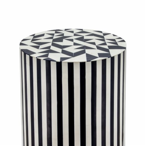 Resin 19 H Pinwheel Round Accent Table,Black Perspective: back