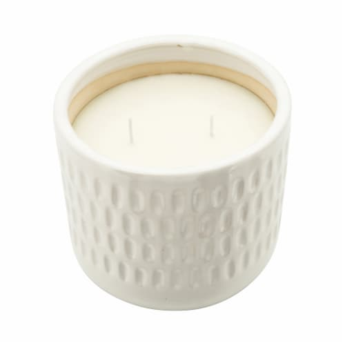 6  Hammered Scented Candle, White Perspective: back