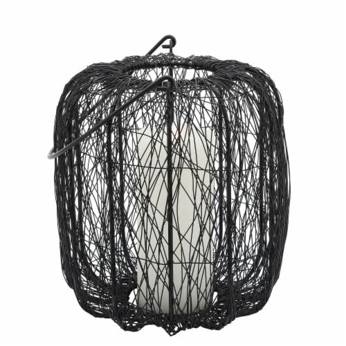 Metal, 10 H Wire Lantern, Black Perspective: back