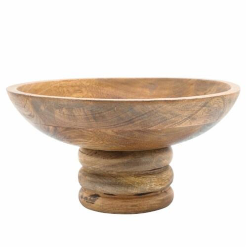 Wood, 12  Bowl W/ Stand, Brown Perspective: back