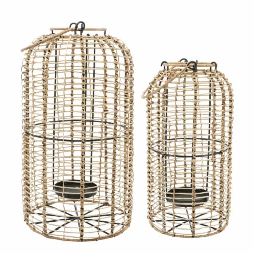 Rattan, S/2 10/13  Hurricane Candle Holder, Nat Perspective: back