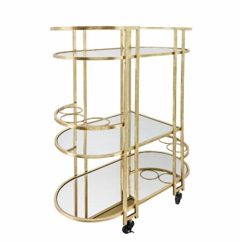 Metal, 37 H 3-Layered Bar Cart, Gold Perspective: back