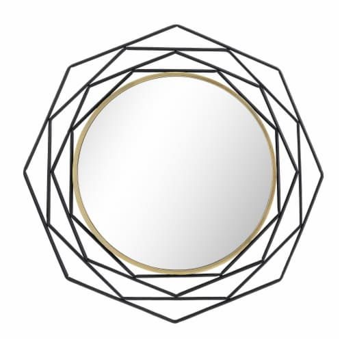 Metal, 28  Octagonal Mirror, Black Perspective: back