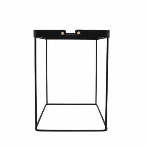 Metal, S/2 20/22 H Square Side Tables W/ Smokey Gl Perspective: back