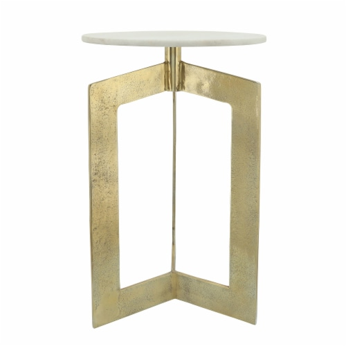 Metal, 25 H, Side Table With White Marble Top, Gld Perspective: back