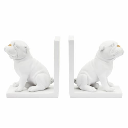 Resin, S/2 6 H Dog Bookends, White Perspective: back