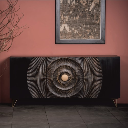 Wood, 63X30 Carved Circle Console Cabinet, Black Perspective: back