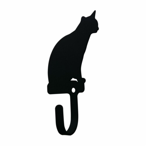 Metal Wall Hook with Sitting Cat Accent, Small, Black Perspective: back