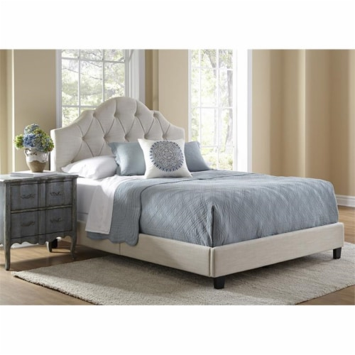 Scalloped Tufted Full Upholstered Bed in Cream Fabric Perspective: back