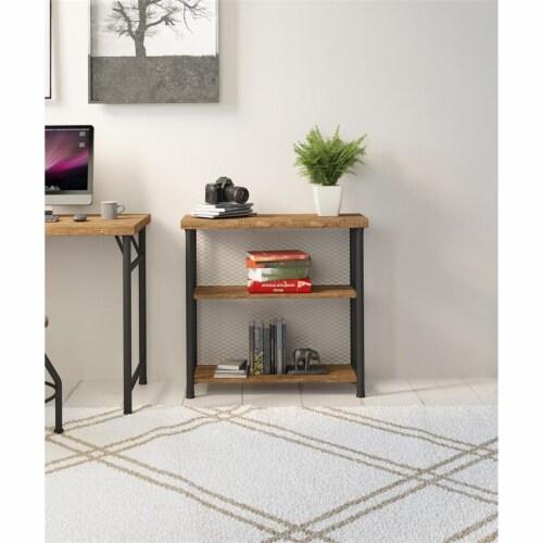 Industrial Metal Bookcase Rustic Oak Perspective: back