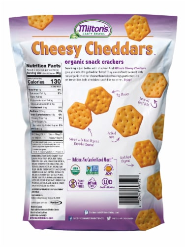 Milton's Craft Bakers Organic Cheesy Cheddar Crackers Perspective: back